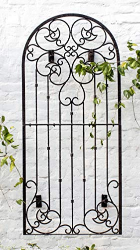 H Potter Wall Trellis Indoor Outdoor Wrought Iron Heavy Scroll Metal Decoration Large with Set of 4 Mounting Brackets (Brackets Trellis)