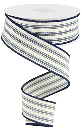 Wired Ribbon Navy and Beige Ticking Farmhouse 1.5