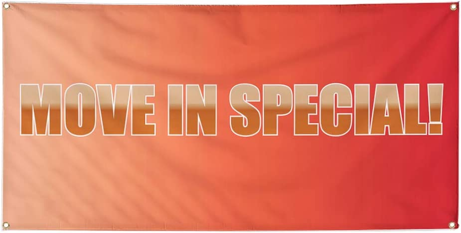 Vinyl Banner Multiple Sizes Move in Special Advertising Printing B Business Outdoor Weatherproof Industrial Yard Signs Pink 10 Grommets 60x144Inches