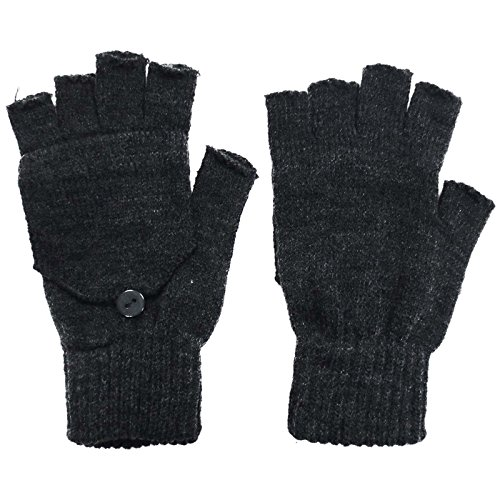 Convertable Mitten - Men's Solid Basic Fingerless Knitted Gloves w/Convertible Mittens, Charcoal