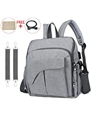 SerhGo Changing Bag Portable Multifunctional Baby Bag Backpack Baby Chair Fixing Function, Baby Diaper Bag Mom's All-Around Helper Free Changing Pad - Grey