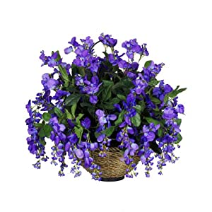 House of Silk Flowers Artificial Wisteria Hanging Basket 15
