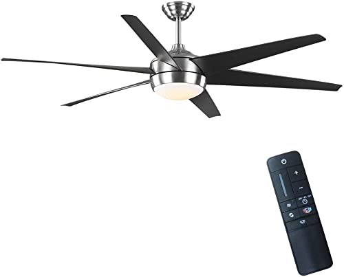 Windward 68 in. Color Changing Integrated LED Indoor/Outdoor Brushed Nickel Ceiling Fan
