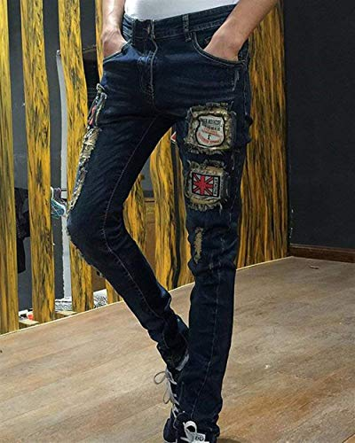 Strappati Indossati Uomo Moda Con Vintage Sottili Da Jeans Ragazzo Pantaloni Alsbild Toppe n8UZp