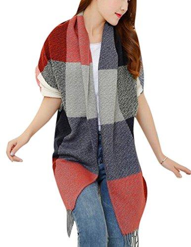126 Cashmere (Allbebe Women New Big Stitching Cashmere Scarf Warm Winter)