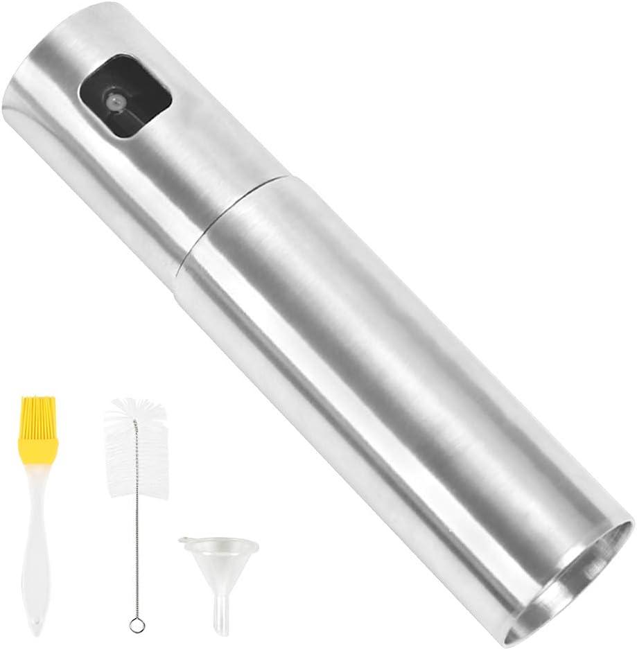 Botella de Pulverizador de Aceite de 100 ML, Dispensador de Pulverizador de Vinagre de Acero Inoxidable, Pulverizador de Cocina Portátil, para Barbacoa, Ensalada, con Embudo de Cepillo