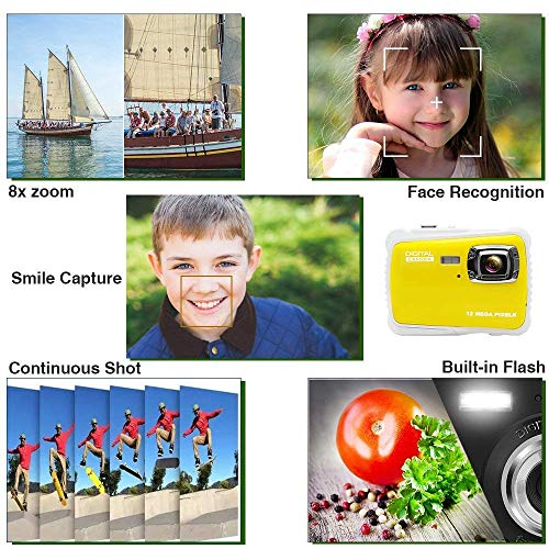 Kids Camera Underwater Digital Camera-IP68 Waterproof Toddler Camera,Video Recorder Action Preschool camera,2.0 Inch LCD Display,16G TF Card Floating Wrist Strap,8X Digital Zoom, Flash and Mic for Kid by L8star (Image #1)