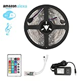Melcan Led light strip, Wifi Alexa Controlled Strip Light Kit 16.4ft 150leds 5050 Waterproof IP65 LED Lights ,Working with Android and IOS System