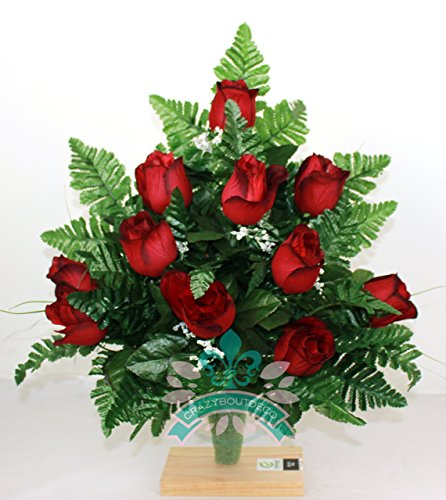 Gorgeous Red Roses Cemetery Arrangement For Mausoleum