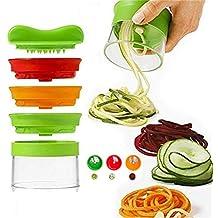 Vegetable Spiralizer,3 Blades Handheld Spiral Slicer Portable Vegetable Fruit Silicer Cutter Tool Spiral Noodles Zucchini Spaghetti Pasta Maker Cheese Slicer Food Slicer Mandoline Slicer by AENMIL
