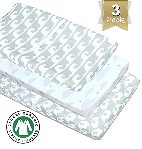 - 3 Pack 100% Organic Cotton Changing Pad Covers or Cradle Sheets, in Neutral Colors Unisex for Boy or Girl