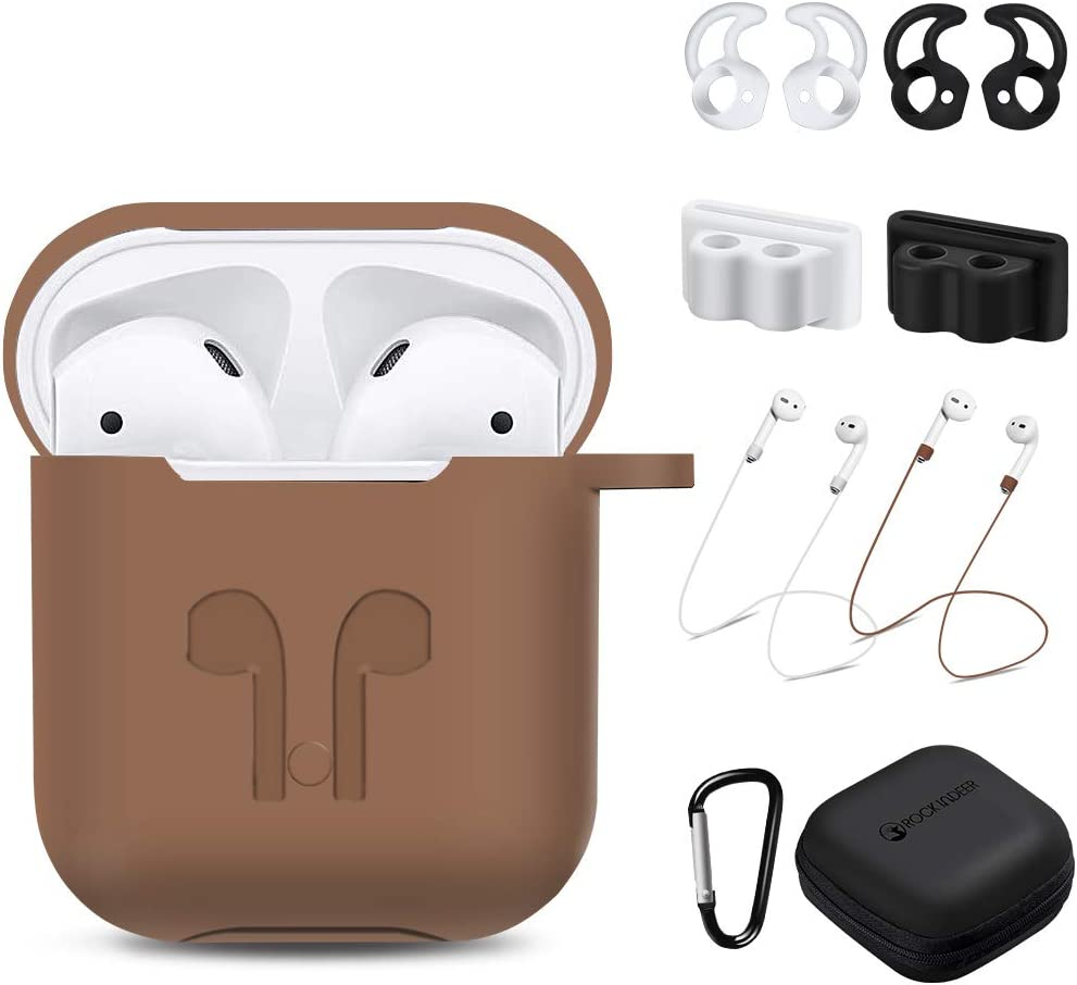 AirPods Case, Rockindeer 9 in 1 AirPods Accessories Set Protective Silicone Cover Skin Compatible Apple AirPods Charging Case with Watch Band Holder/Ear Hook/Keychain/Strap/Carrying Box (Brown)