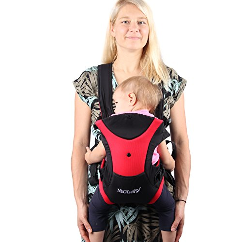 Neotech Care Baby Carrier – Front and Back Carrying – Adjustable, Breathable Lightweight – for Infant, Child, Toddler – Black with Red