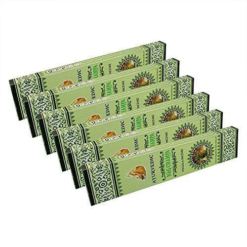 Ayurvedic Nag Champa Masala Incense Sticks Pack of 6 Boxes 15gms Each Supreme Quality Incense Sticks for Purification, Positivity, Yoga, Meditation and Stress Elimination