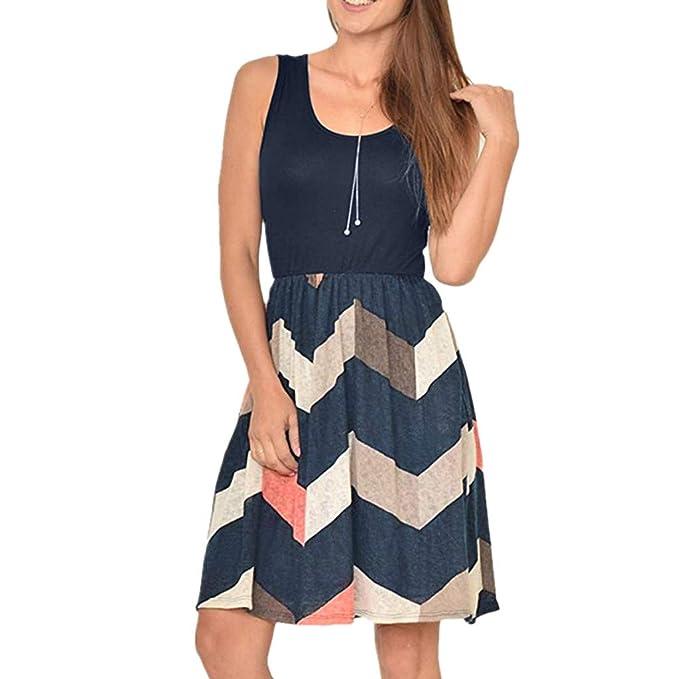 31539a6bfae Roisay Women Tunic Tops Dresses Lady Plus Size Stripe Sleeveless Sundress  Summer Boho Print Pocket Beachwear