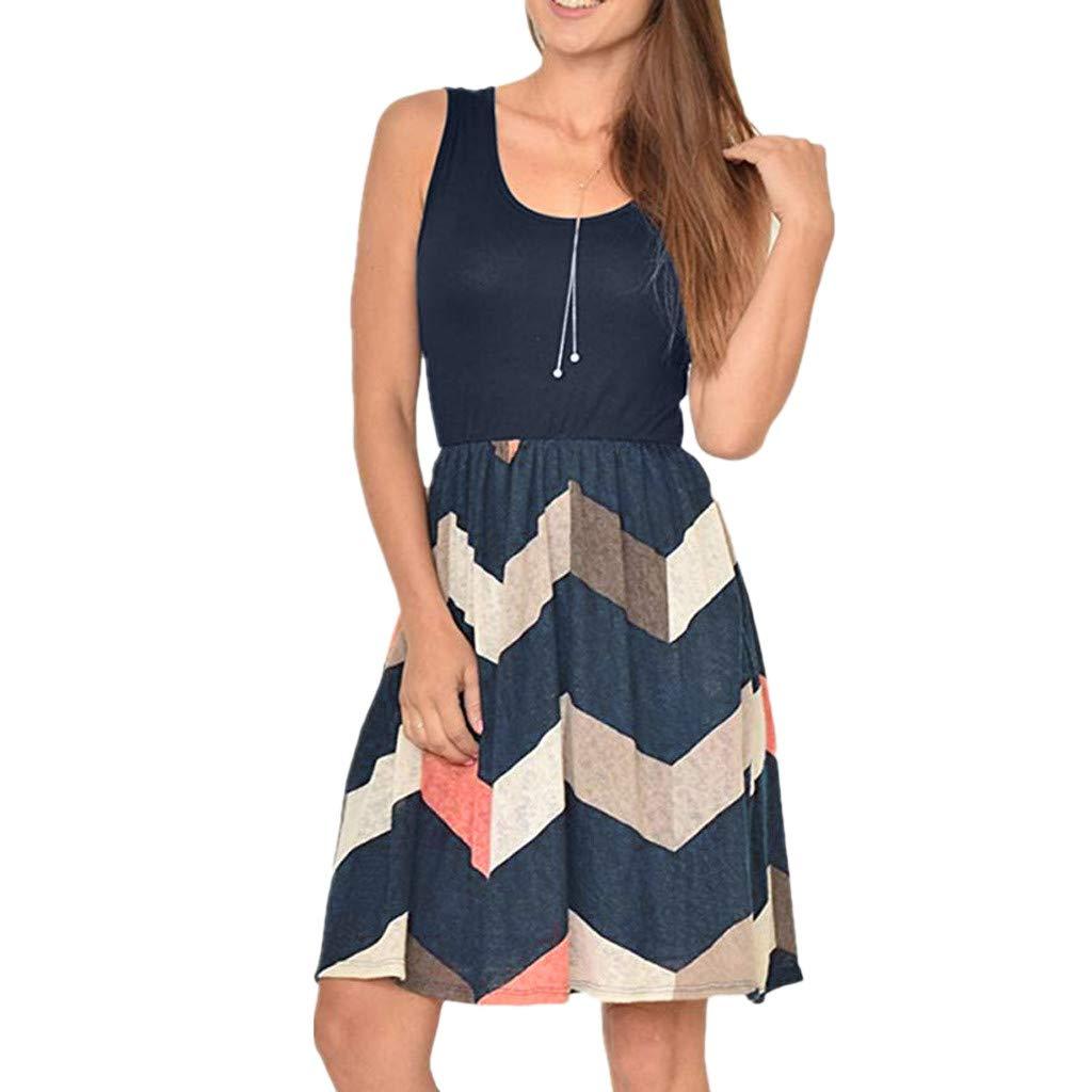 kanyankeji Casual Sleeveless Dress Boat Neck Boho Print with Pocket Swing Dress Gray