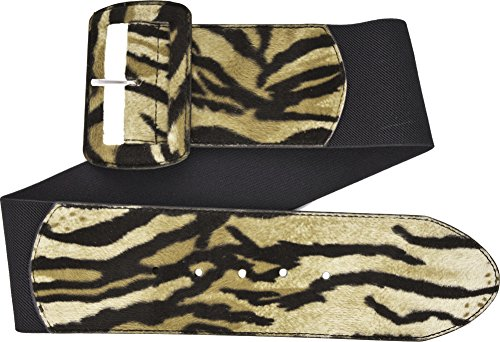 Print Cool Belt Buckle - Tiger Print on Black Wide Stretch Belt from Sourpuss Clothing