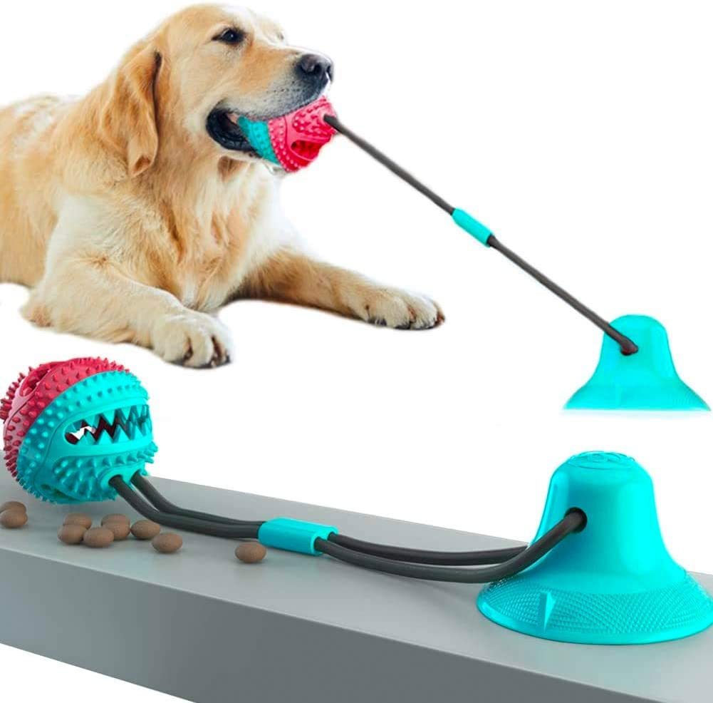Suction Cup Dog Toy, Self-Playing Tug of War Dog Toy with Chew Rubber Ball, Training IQ Teething Clean Dog Food Dispensing Ball Toys
