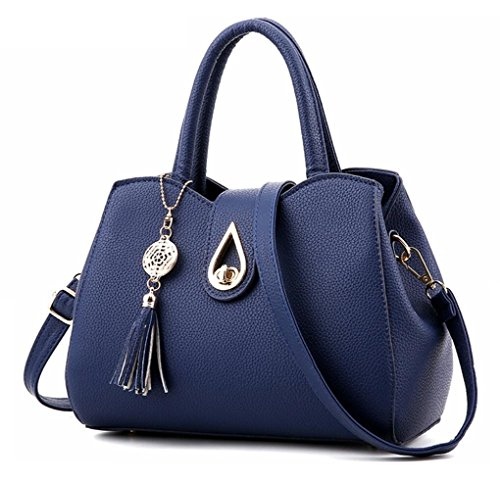 Blue Silver Hardware - Office Lady Top handle Handbag Crossbody Shoulder Bag Fashion Luxury Tote Handbags Purse Business Satchel for Women Navy Blue
