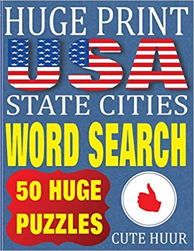 image regarding Free Printable Extra Large Print Word Search titled Substantial Print United states of america Nation Metropolitan areas Phrase Appear: 50 Term Queries