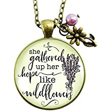 "24"" She Gathered Up Her Hope Like Wildflowers Inspirational Necklace Lavender Charm Women's Faith Pendant Jewelry"