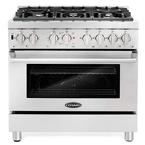 Cosmo COS-DFR366 Freestanding Professional Style Dual Fuel Range with 4.5
