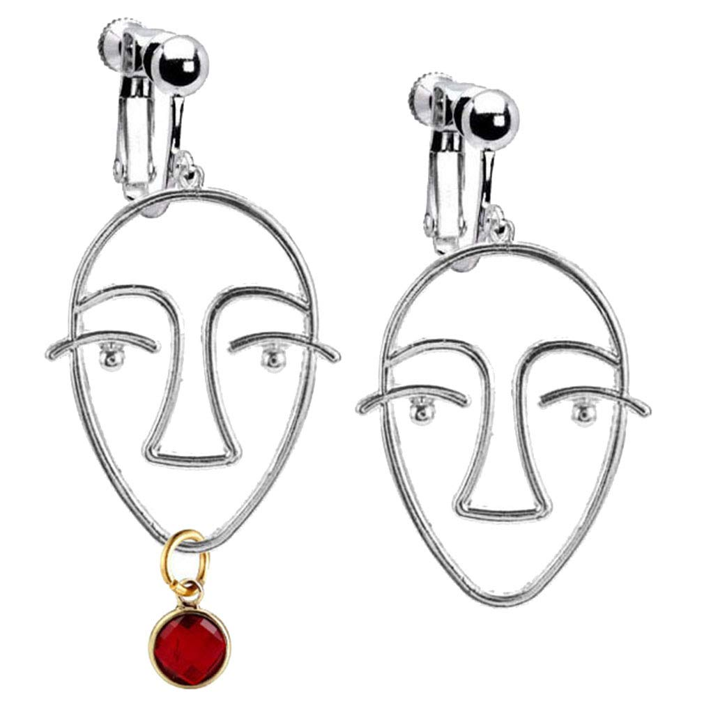 January Birthstone Clip on Earrings Crystal Abstract Human Face Emoji Asymmetric Drop