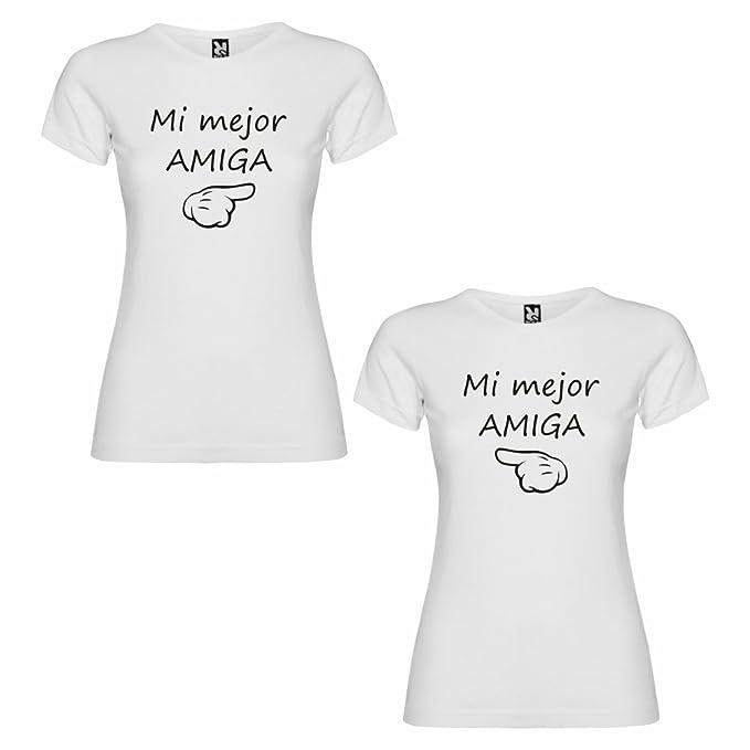 DALIM Pack de 2 Camisetas Blancas para Mejores Amigas, Mi Mejor Amiga Negro: Amazon.es: Ropa y accesorios