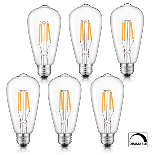 Dimmable Vintage LED Edison Bulbs 4W 400LM 2700K Warm White,E26 Medium Base Filament Lamp, ST21(ST64) Antique Shape,40W Incandescent Replacement, Clear Glass, 6Pack