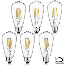 Wuhostam Edison Bulb 4W LED, 2700K Warm White 400LM, E26 Medium Base Lamp, ST21(ST64) Antique Shape, 40W Incandescent Replacement dimmable 6Pack