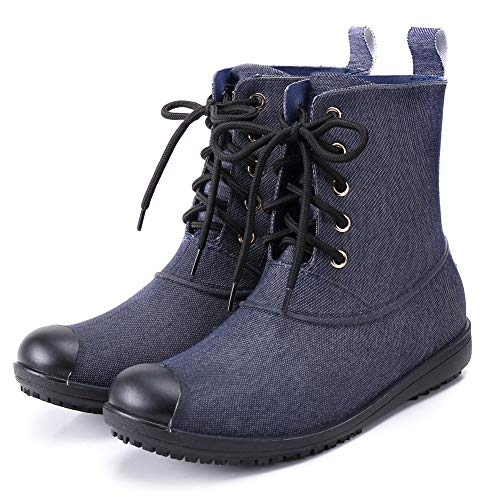 17KM Women's Black Lace Up Martain Rain Shoes Anti Slip Waterproof Rubber Rain Boots, Denim Blue, 8.5 M US