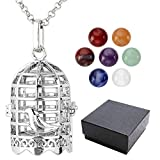 Top Plaza 7 Chakra 8mm Gemstone Healing Crystal Ball Reiki Locket Pendant Necklace