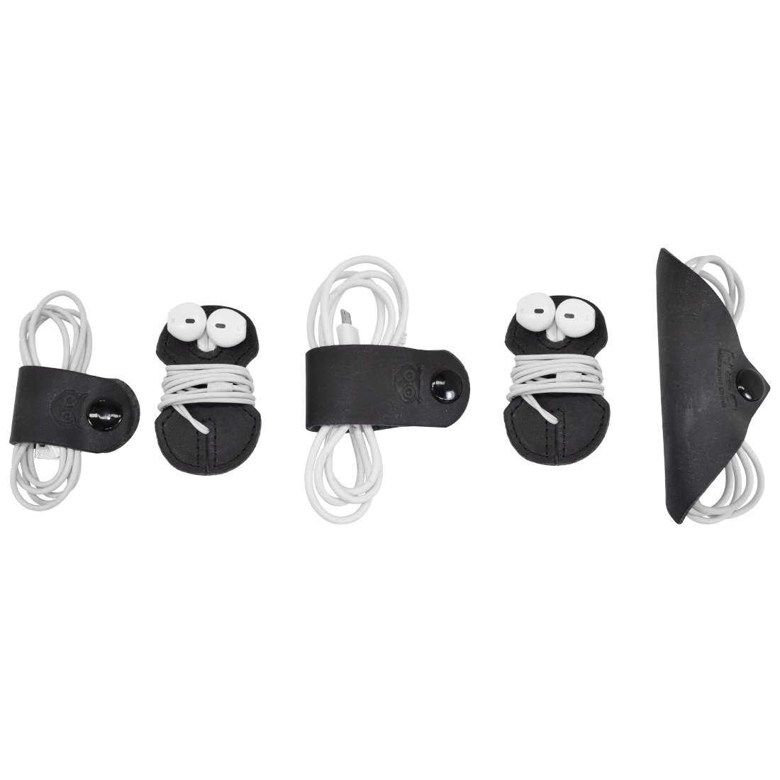 Cord Keeper (Cord Clam) 5-Pack Handmade by Hide & Drink :: Black