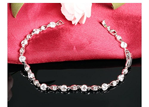 Stainless Steel Swarovski Elements Cubic Zirconia Bracelet with Extended Chain for Women 6.8+1.2'' by LOHOME (Image #4)