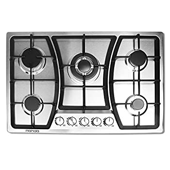Image of 30 inches Gas Cooktop 5 Burners Gas Stove gas hob stovetop Stainless Steel Cooktop 5 Sealed Burners Cast Iron Grates Built-in Gas Stove Top LPG/NG Gas Cooktop Thermocouple Protection and Easy to Clean Home Improvements