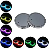 LED Cup Holder Lights, niceEshop(TM)2 PCS LED Light Cup Holder Bottom Mat Pad with USB Rechargeable Interior Decoration Light for Car, SUV, Truck, Camper, Boat, 7 Colors
