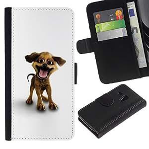 All Phone Most Case / Oferta Especial Cáscara Funda de cuero Monedero Cubierta de proteccion Caso / Wallet Case for Samsung Galaxy S3 MINI 8190 // Funny Happy Puppy Dog