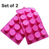 BAKER DEPOT 15 Holes Cylinder Silicone Mold For Handmade soap, jelly, Pudding, Cake Baking Tools, Set of 2