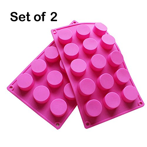 BAKER DEPOT 15 Holes Cylinder Silicone Mold For Handmade soap, jelly, Pudding, Cake Baking Tools, Set of 2 (Silicone Mold)