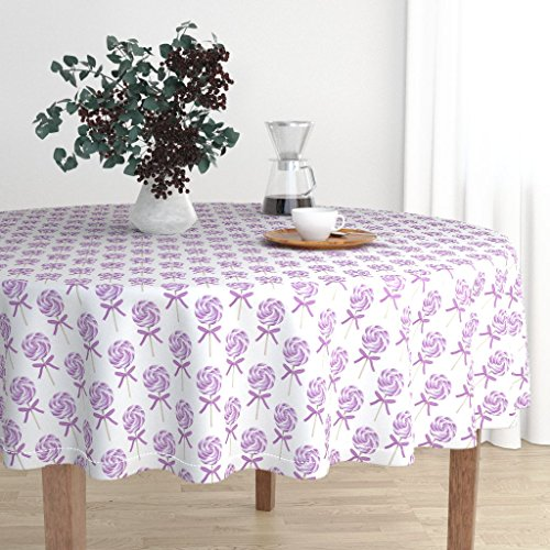 (Roostery Round Tablecloth - Lollipops Whirly Pop Swirl Lavendar Sweets Sucker Fabric Baby Girl by Littlearrowdesign - Cotton Sateen Tablecloth 70in)