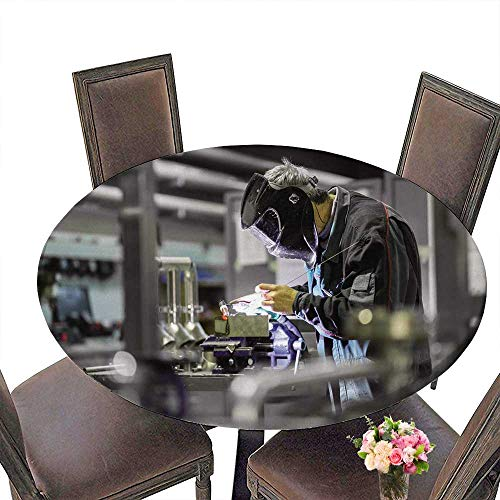 PINAFORE Simple Modern Round Table Industrial Worker with Protective mask Welding INOX Elements in Steel Structures Manufacture for Daily use, Wedding, Restaurant 31.5