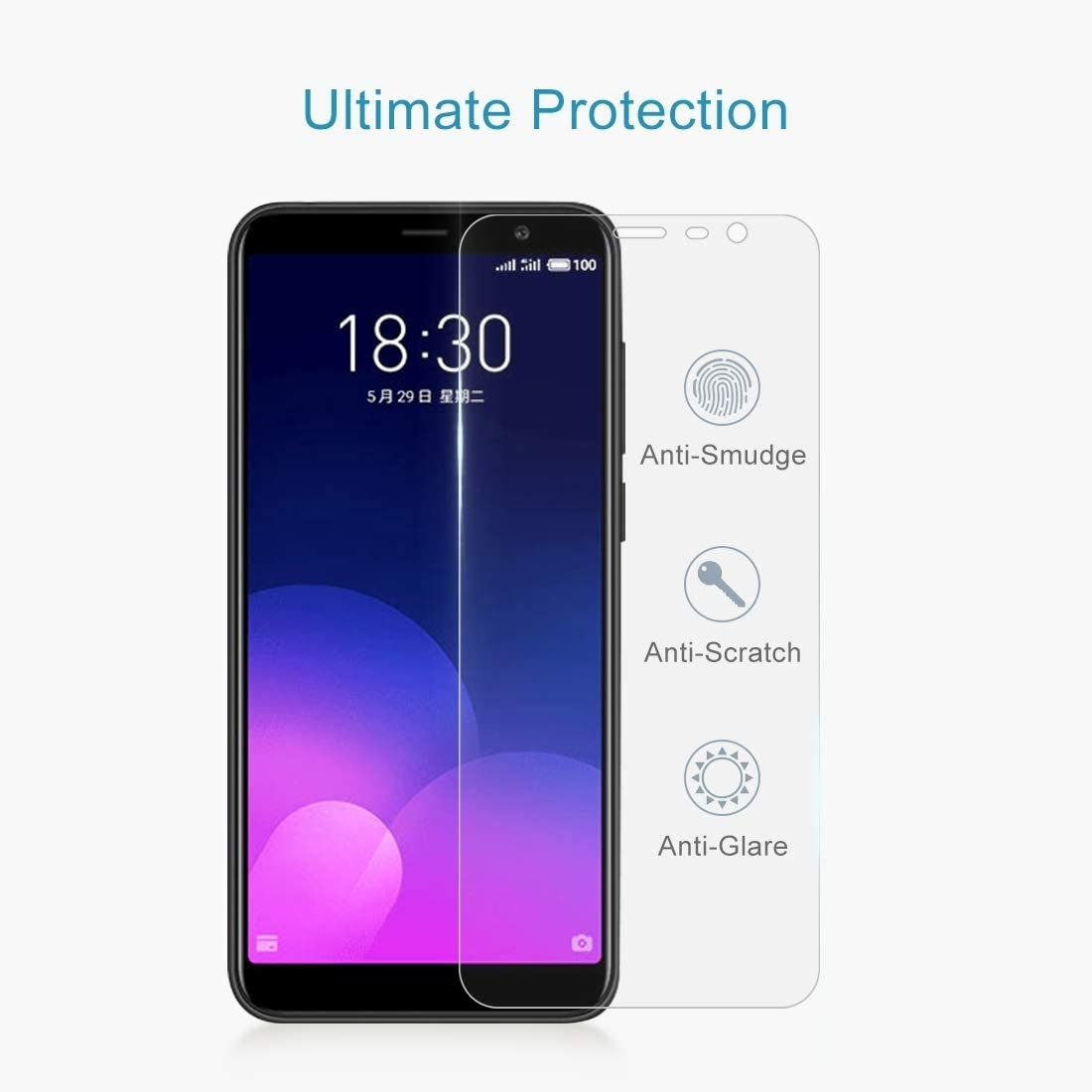 Ruanmaoshi Cell Phone Accessory 100 PCS 0.26mm 9H Surface Hardness 2.5D Full Screen Tempered Glass Film for Meizu M6T Phone Screen Protectors