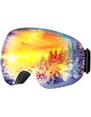 OMORC Ski Goggles Anti-fog with UV400 Protection,Snowboard Goggles OTG Over The Glasses,Dual Lenses Super Wide Angle Anti Scratch,Helmet Compatible for Men and Women