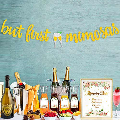 Mimosa Bar Sign Gold Glitter But First Mimosas Banner Juice Tags Floral Decorations for Baby Shower Baby Sprinkle Bubbly Bar Champagne Brunch Graduation Bridal Shower Wedding Engagement Birthday Party