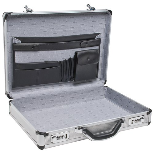 "RoadPro SPC-931R 17.5"" x 4"" x 13"" Silver Aluminum Briefcase from RoadPro"