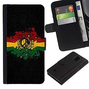 Planetar® Modelo colorido cuero carpeta tirón caso cubierta piel Holster Funda protección Para Samsung Galaxy S5 Mini / SM-G800 (Not For S5!!!) ( Rasta Reggae Peace Sign )