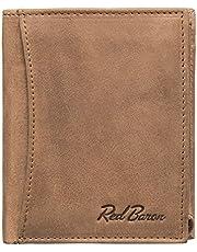 Red Baron Herren Geldbeutel aus echtem Leder mit Münzfach im Hochformat Braun - Männer Geldbörse Portemonnaie Used Look Vintage - Brieftasche mit Fach für Einkaufswagenchip RB-WT-002-05