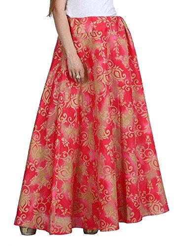 Export Layer Women's Indian skt1412 Handicrfats pink Long Skirt freesize Brocade Double a5xTq