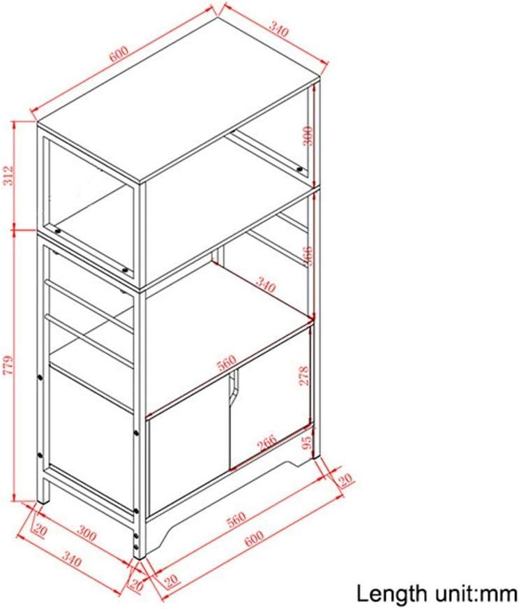 Jtoony-HO Estante para microondas de 3 Capas, Estante Organizador para Horno con Armario Grande, Metal, marrón, 60x34x109 cm