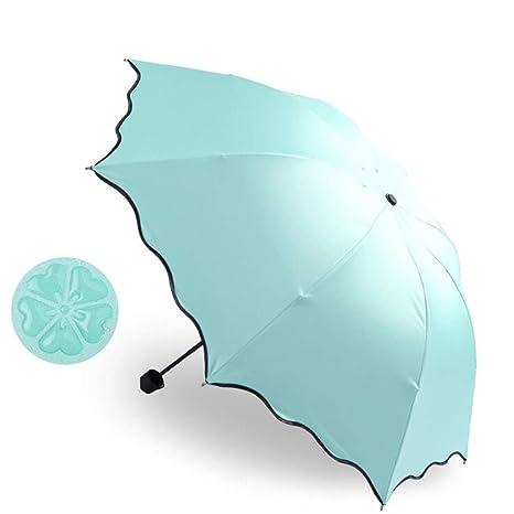 Umbrella,Portable Triple Folding Rainproof Windproof Flowering Umbrella Anti-UV Sunproof Parasol Water Blue